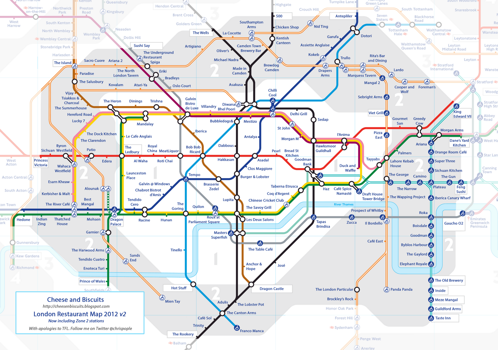 london restaurant tube map
