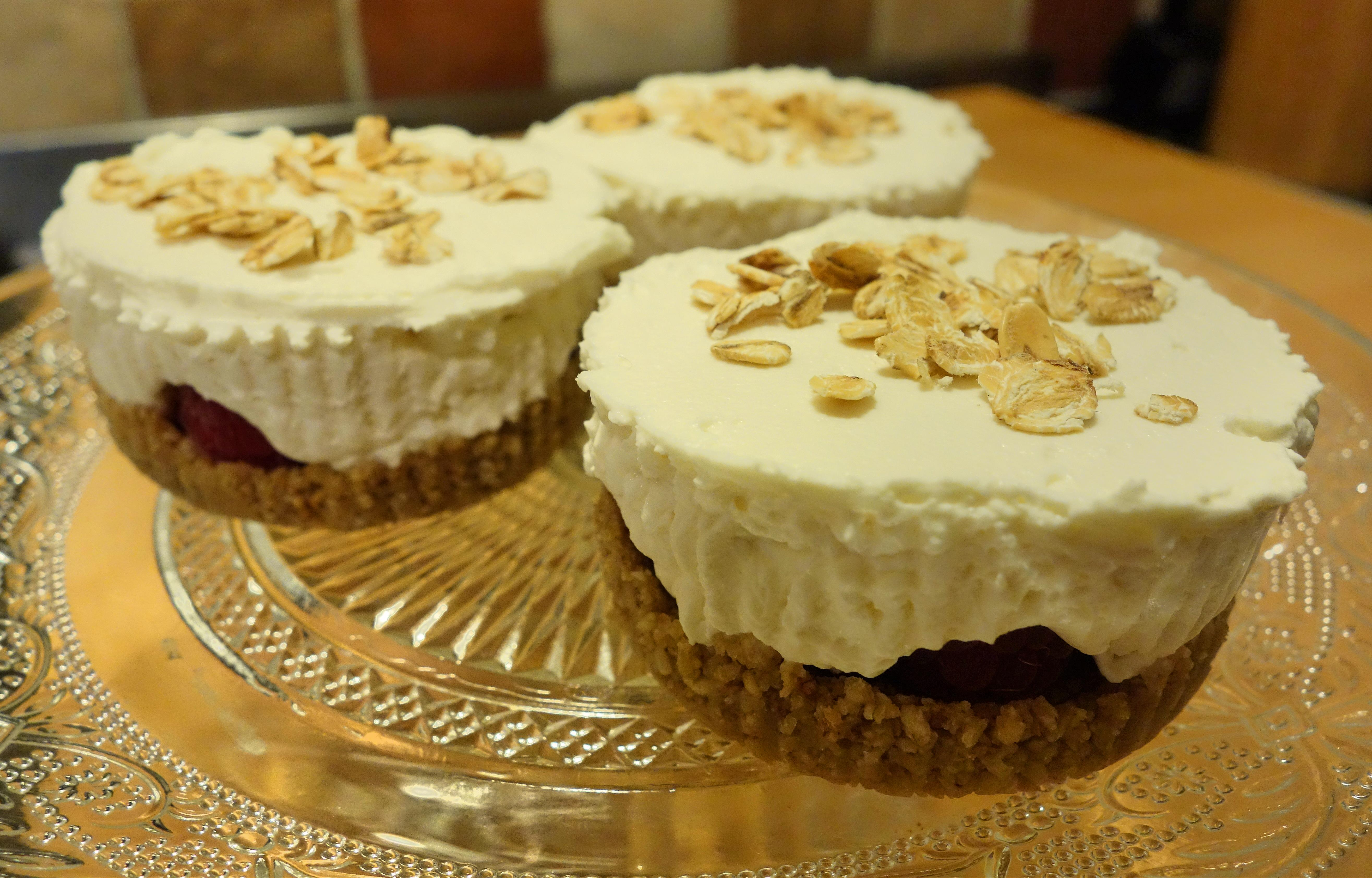... cheesecakes with some of the toasted oats and serve with some